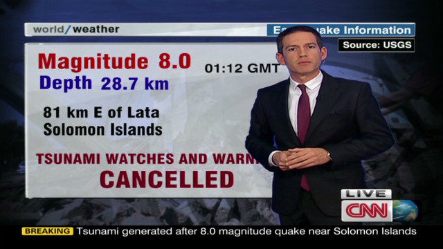 Tsunami warnings canceled