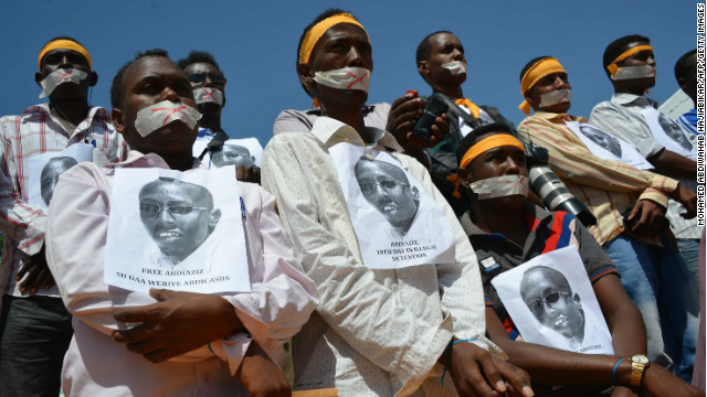 Somali journalists in Mogadishu protest the charges against colleague Abdiaziz Abdinur Ibrahim during a rally in January.