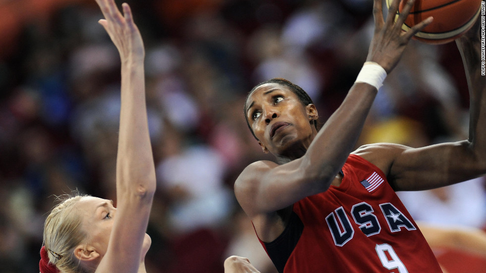 Lisa Leslie (#9) won four Olympic gold medals with the U.S. before retiring from basketball in 2009.