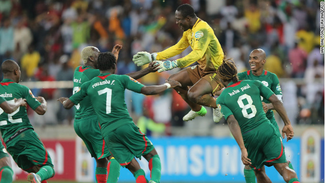 Burkina Faso's players celebrate their victory over Ghana in the semifinal at the Africa Cup of Nations