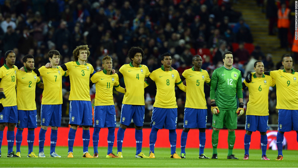 Brazil captain David Luiz, fourth from the left, is confident La Selecao can win the World Cup when it is staged in the South American country for just the second time next year.