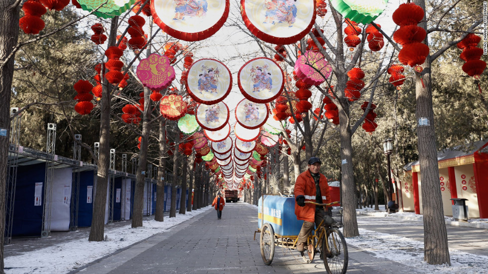 People decorate Ditan Park in anticipation of the Chinese New Year on February 6 in Beijing.