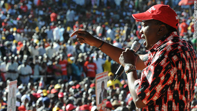 Kenya's Deputy Prime Minister and Jubilee Alliance presidential candidate Uhuru Kenyatta addresses on January 12, 2013 a political rally at Uhuru park in Nairobi.