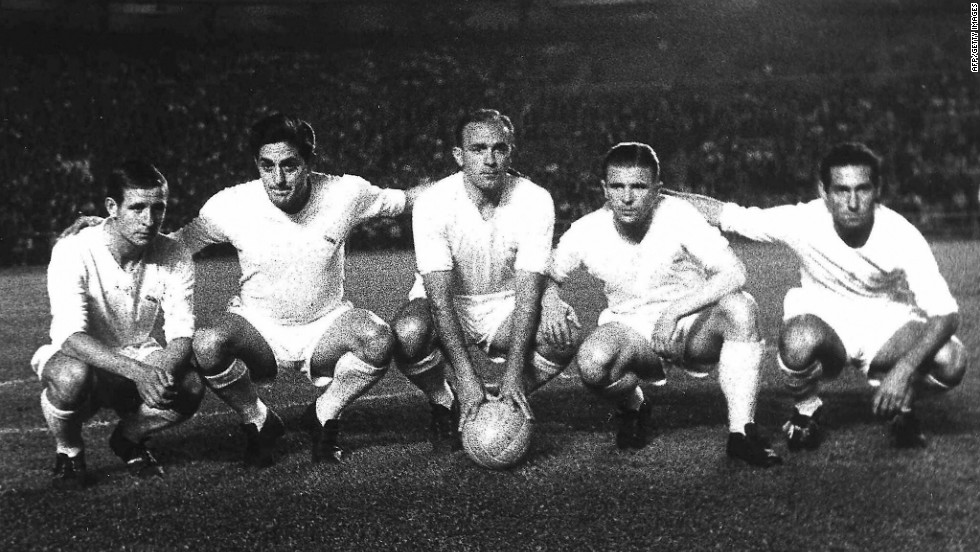 Real Madrid dominated European football during the 1950s by winning the competition five times in succession between 1955 and 1960. Hungarian star Ferenc Puskas joined the club in 1958 to link up with Di Stefano, Kopa, Gento and Rial to form one of the most exciting teams ever seen.