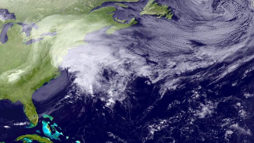 A satellite image released by the National Oceanic & Atmospheric Administration on February 8, shows a large storm over the Northeastern United States.