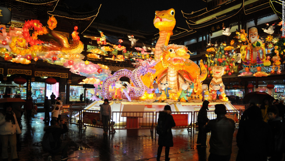 Visitors take in a display celebrating the Year of the Snake in Shanghai, China, on February 8.