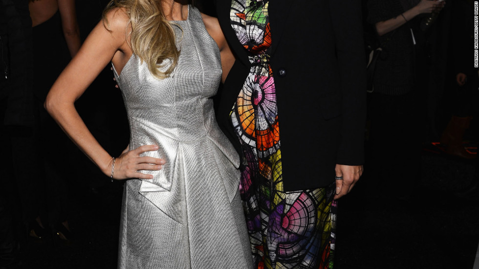 Kristin Chenoweth and Heidi Klum attend the Project Runway Fall 2013 fashion show in New York City.
