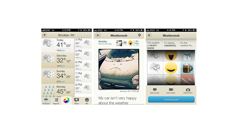 "For people who love weather Tweets and Facebook updates, the free <a href=""http://weathermob.me"" target=""_blank"">Weathermob</a> iOS app lets you file citizen weather reports from anywhere. Attach photos or videos and see what other people are reporting."