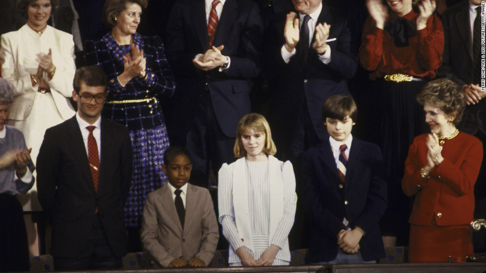 First lady Nancy Reagan, lower right, claps for the special young guests at President Ronald Reagan's 1986 State of the Union address. To her right are Trevor Ferrell, Shelby Butler, Tyrone Ford and Richard Cavoli. Reagan honored Ferrell, who was barely a teenager, for working with the homeless. Butler, also in her early teens, was honored for saving a fellow student. Ford was recognized for his musical accomplishments. Cavoli's experiment was aboard the space shuttle Challenger.