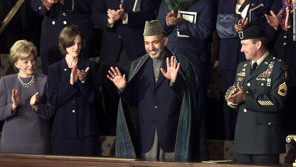 Afghanistan's then-president, Hamid Karzai, was Bush's guest at the 2002 State of the Union.