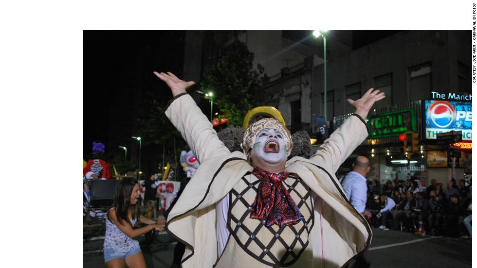 A Murga Alicia member parades in Montevideo.