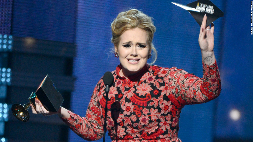 Adele's win for best pop solo performance marks the singer's ninth Grammy to date, as she took home six awards in 2012 alone.