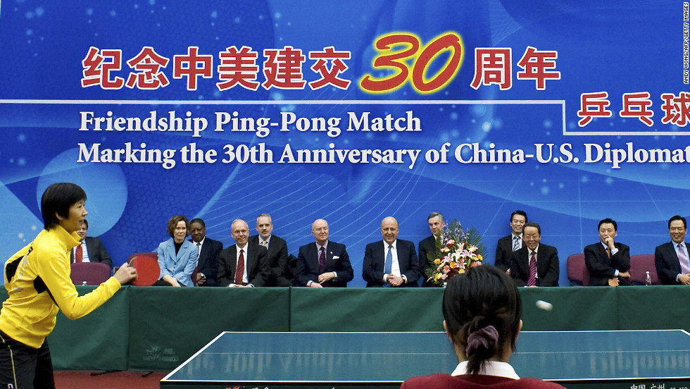 A commemorative table tennis match was part of celebrations marking 30 years of U.S. and China diplomatic ties in 2009.