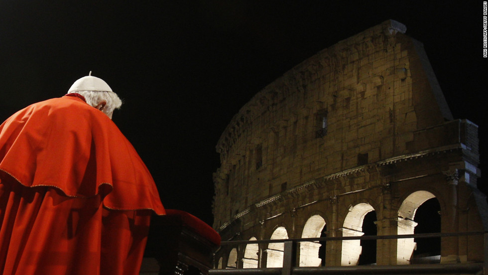 Benedict prays on Good Friday in April 2010 at the Roman Colosseum.