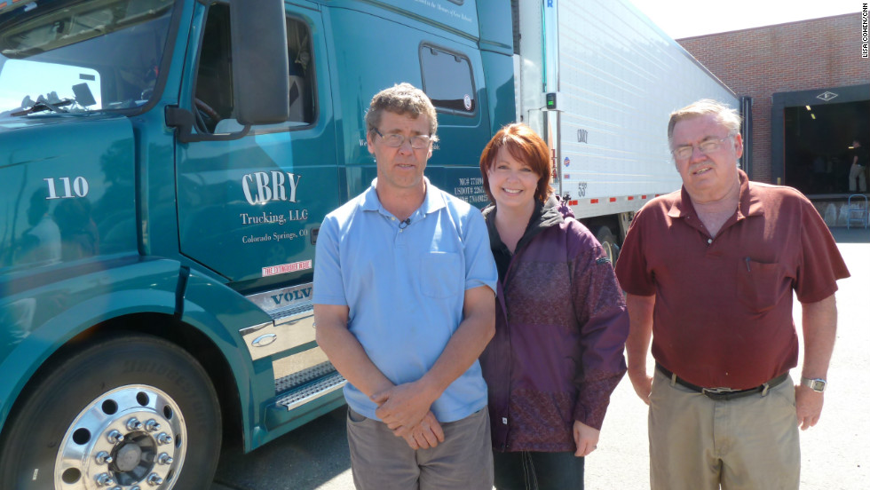 Rick Youngquist, left, a member of Truckers Against Trafficking, volunteered to transport the bras with the help of his business partner, Mike Babcock, right.