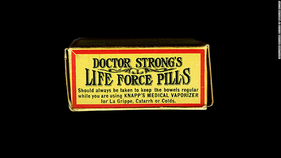 "These ""life force pills"" were made in 1905. According to its manufacturer, they ""will positively cure biliousness and bilious headache, constipation, sick and nervous headache, torpid liver, nausea, jaundice, general debility, indigestion, malaria, fever and ague, sluggish bowels, dizziness, cramps, loss of appetite, sour stomach, sallow skin, and are an invaluable aid in curing piles, colds, and 'grip.'"""