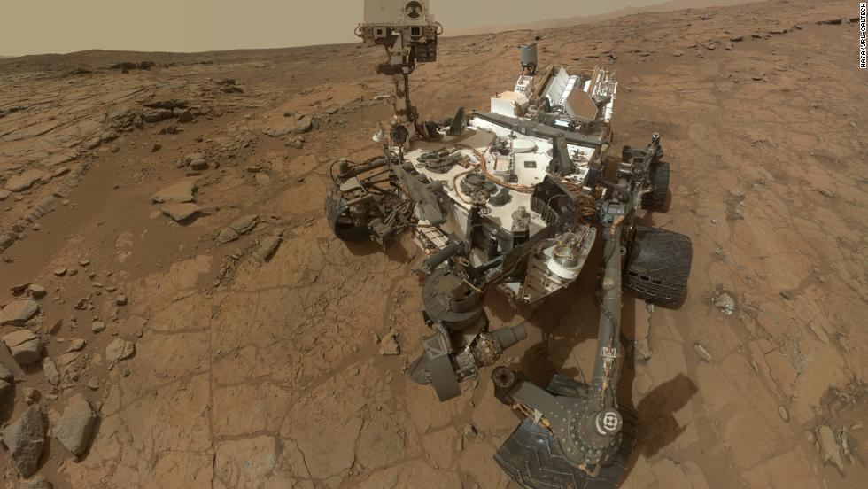 "The <a href=""http://mars.nasa.gov/msl/mission/rover/"" target=""_blank"">car-size NASA spacecraft</a> landed on Mars at 1:32 a.m. EDT on August 6, 2012. Curiosity snapped the images used for this self-portrait on February 3, 2013."