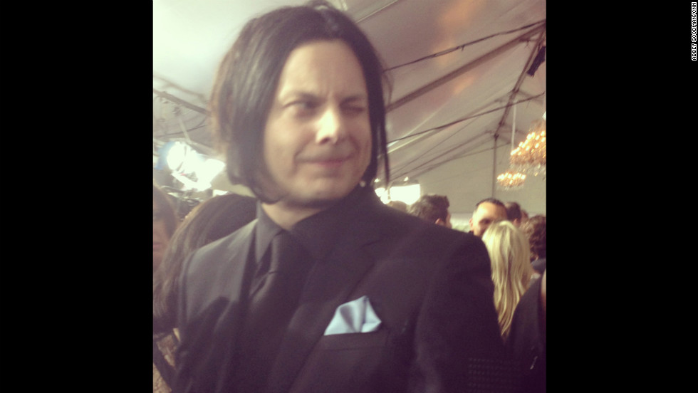 Jack White appeared to be in good spirits - and even came close to cracking a smile! - before the big show.