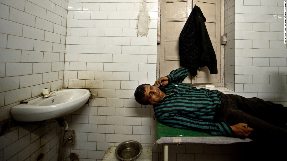 A man talks from the Railway Hospital in Allahabad on February 10.