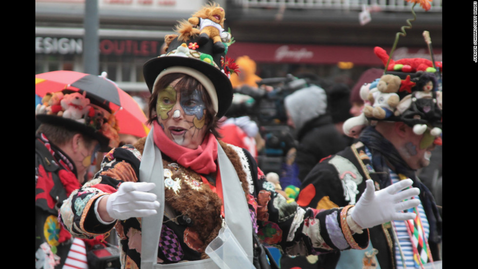 Carnival revelers participate in Düsseldorf's parade.