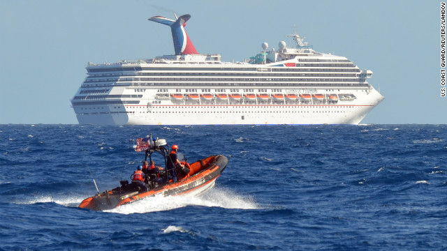 Image #: 21173563    A small boat from the U.S. Coast Guard Cutter Vigorous patrols near the cruise ship Carnival Triumph in the Gulf of Mexico, in this February 11, 2013 handout photo. The cruise ship lost propulsion after an engine room fire on February 10 and was adrift off southern Mexico's Yucatan peninsula. REUTERS/U.S. Coast Guard/Lt. Cmdr. Paul McConnell/Handout (GULF OF MEXICO - Tags: MILITARY SOCIETY MARITIME TRANSPORT TRAVEL)       REUTERS /US COAST GUARD /LANDOV