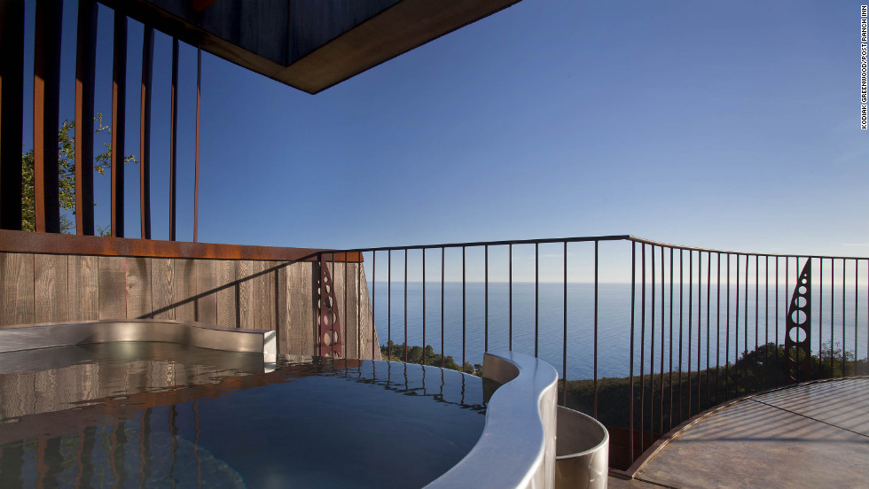 The deck of the Upper Pacific Suite at the Post Ranch Inn in Big Sur, California, offers spectacular views of the ocean from its outdoor hot tub.