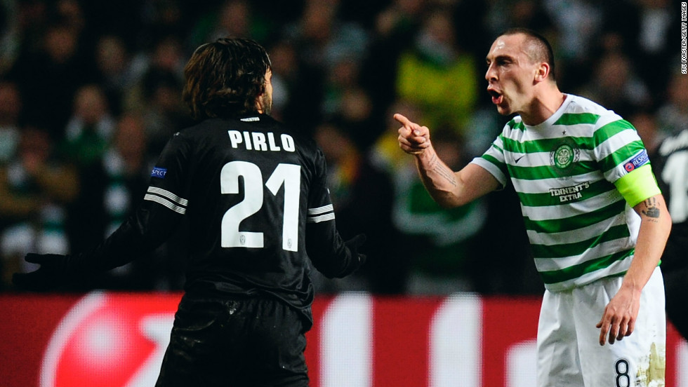 Celtic captain Scott Brown rages at Juventus playmaker Andrea Pirlo during the high octane clash. Pirlo, who played a starring role in Italy's run to the World Cup Final last year, was outstanding once again at the heart of the Juventus midfield.