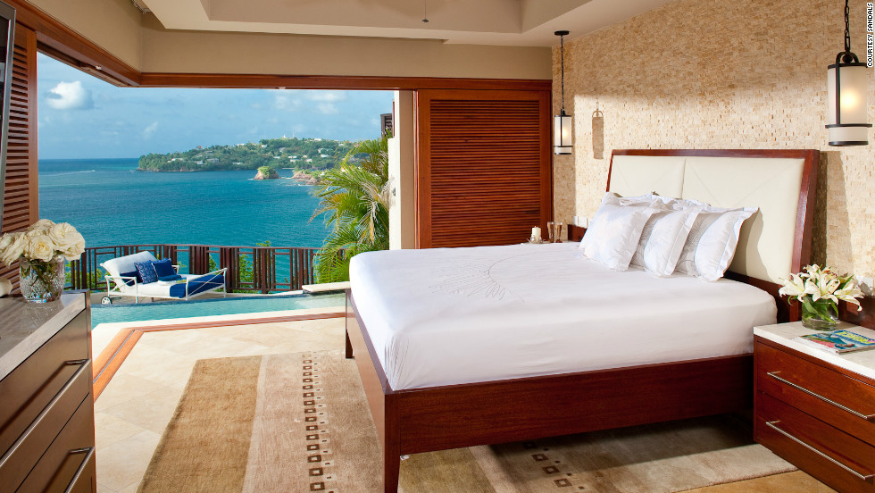 Check into a room with a romantic view at the couples-only Sandals La Toc Golf Resort & Spa in St. Lucia.