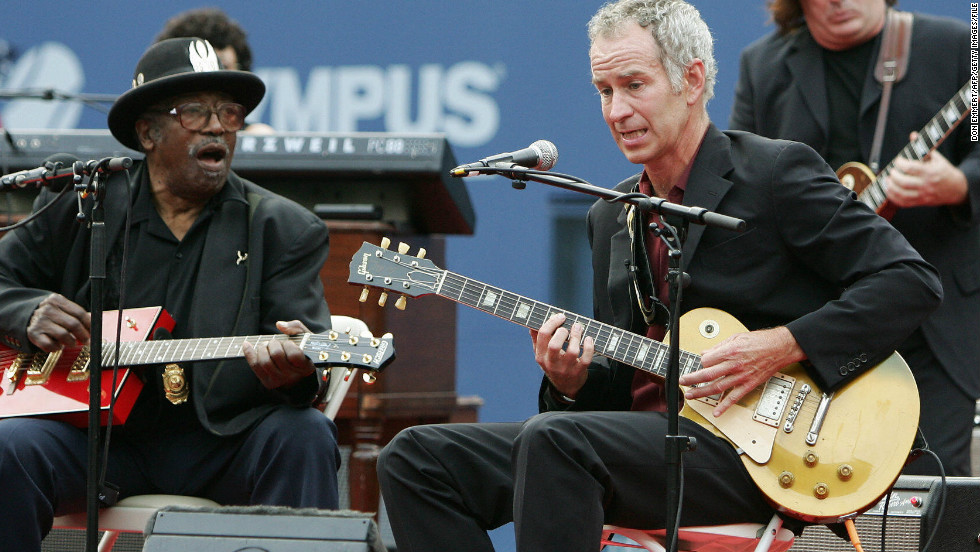 """American Pie."" McEnroe is a keen musician, and is seen here performing with legendary guitarist Bo Diddley during  the U.S. Open in 2005. As well as Don McLean's 1970s classic, he's also a big fan of the Black Keys and Foo Fighters."