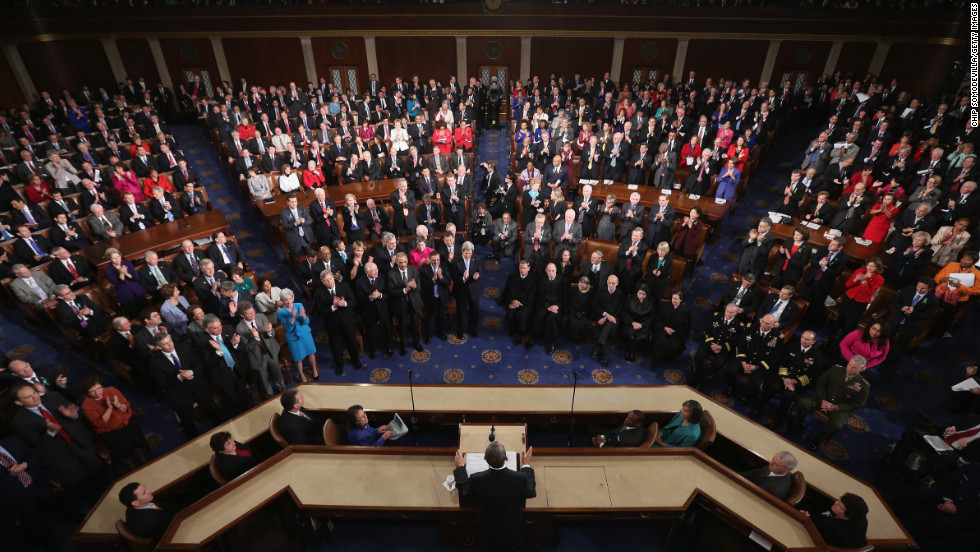 Obama delivers his State of the Union address before a joint session of Congress.