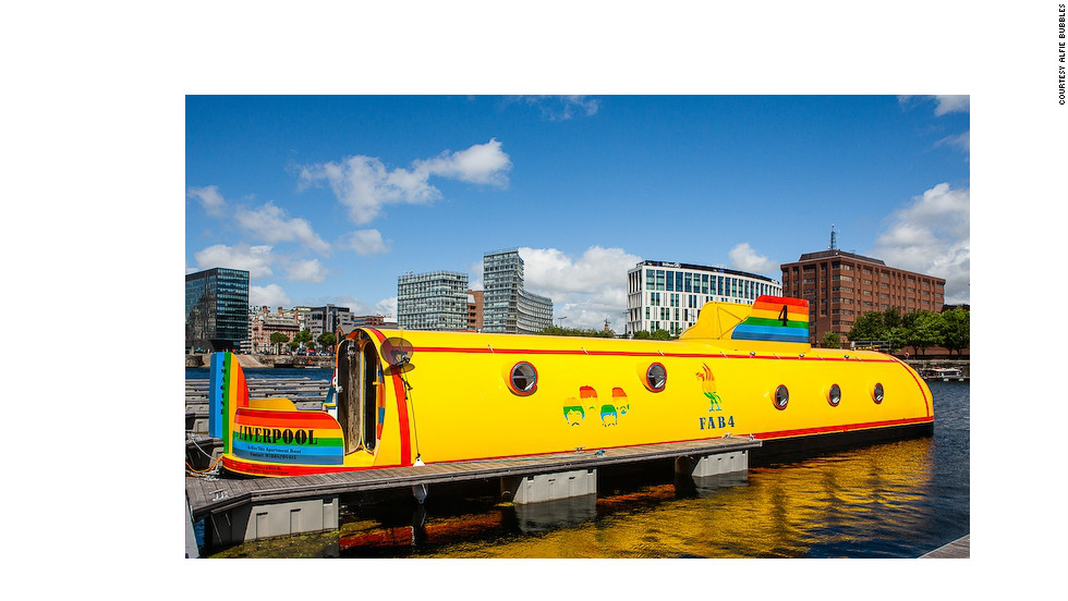 Couples looking for a water-side adventure this Valentine's Day, can book a ticket to ride on the converted Beatles Yellow Submarine hotel in Liverpool.