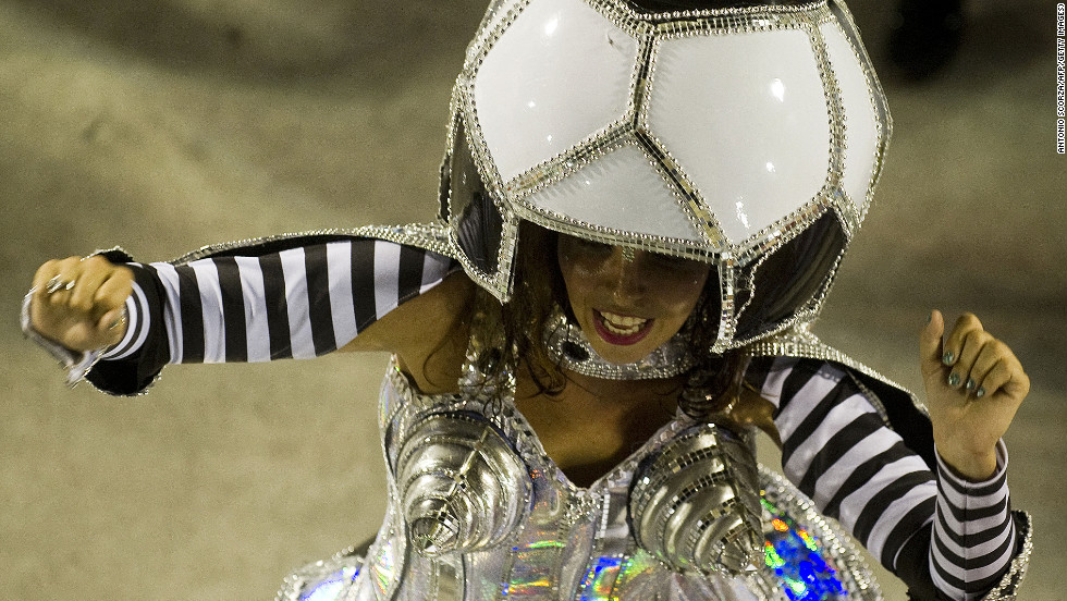 A Carnival-style tribute from the Mocidade Independente samba school to Brazil's football-mad culture and the country's hosting of the next FIFA World Cup.