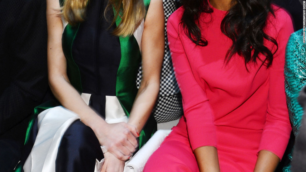 Hilary Swank and Zoe Saldana attend the Michael Kors fashion show.