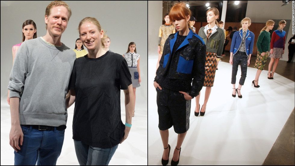 Susanne Ostwald, 33, and Ingvar Helgason, 32, make up the London-based brand Ostwald Helgason. Also a couple (Ostwald is German, Helgason is Icelandic), the designers focus on bold prints and sculpted yet girlish silhouettes, which have helped make them the breakout stars of this New York Fashion Week.
