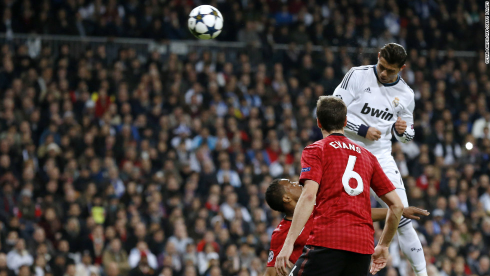 It had to happen, didn't it? That man Cristiano Ronaldo leveled for Real against his former club with an unstoppable 30th minute header after climbing high above Patrice Evra and Jonny Evans.