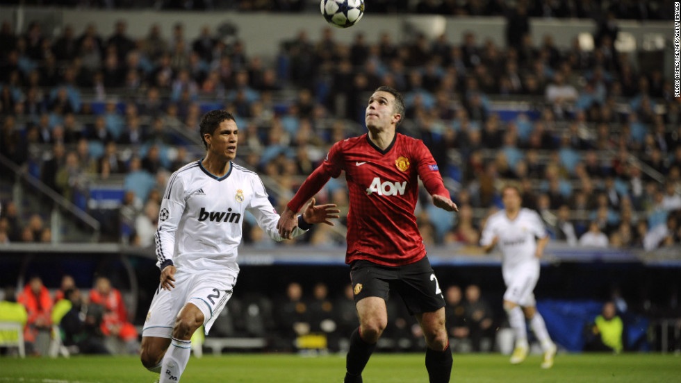 United's Robin van Persie had two glorious opportunities to win the game for United in the second half, one which was turned onto the crossbar by Diego Lopez and another which was kicked off the line by Xabi Alonso.