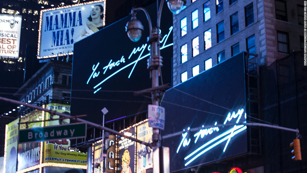 """I Promise to Love You,"" a series of visual valentines messages by Emin, will be spelled out across 15 huge billboards in Times Square throughout February."