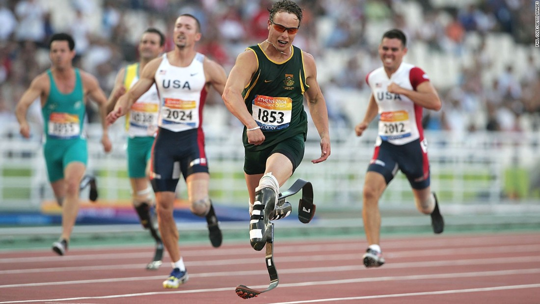 "Pistorius won gold for the first time at the 2004 Athens Paralympics. He won the 200-meter final and set a new world record. The South African sprinter has been called the ""Blade Runner"" because of his carbon-fiber prosthetic legs."