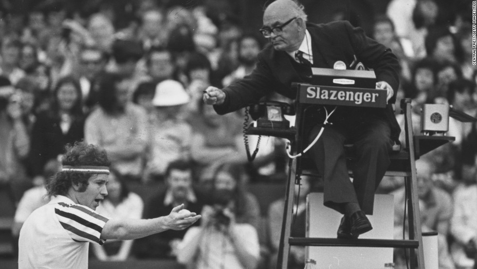 """I hear that about 10 times a day."" McEnroe was notorious for arguing with umpires -- here haranguing an official during a semifinal win over Connors at Wimbledon. His famous catchphrase: ""You cannot be serious!"""