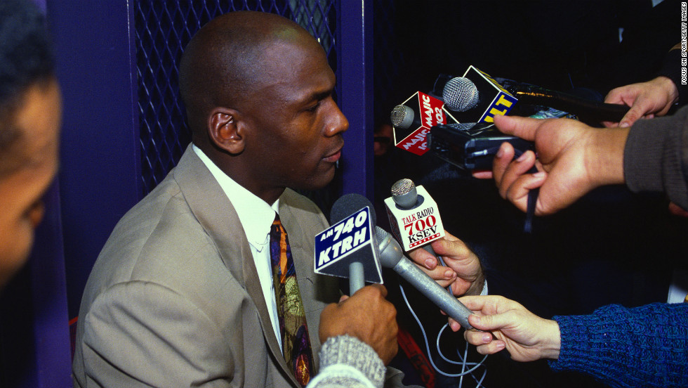 Jordan talks with the media after the Bulls defeated the Portland Trail Blazers in Game 6 of the 1992 NBA Finals. The Bulls won the NBA Championship 4-2.