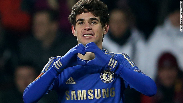 Oscar grabbed Chelsea's winner in Prague and celebrated in fitting style on Valentine's Day