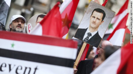 Demonstration in support of Syria's president on February 2, 2013 in Paris.