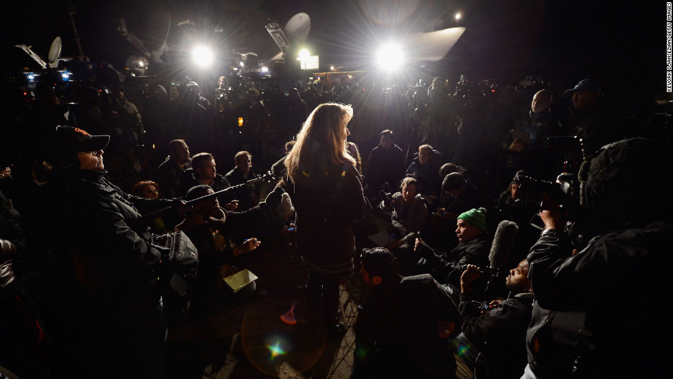 Cindy Bachman, public information officer for the San Bernardino Sheriff's Department, updates the media after a standoff and a shootout with Dorner on Tuesday, February 12.
