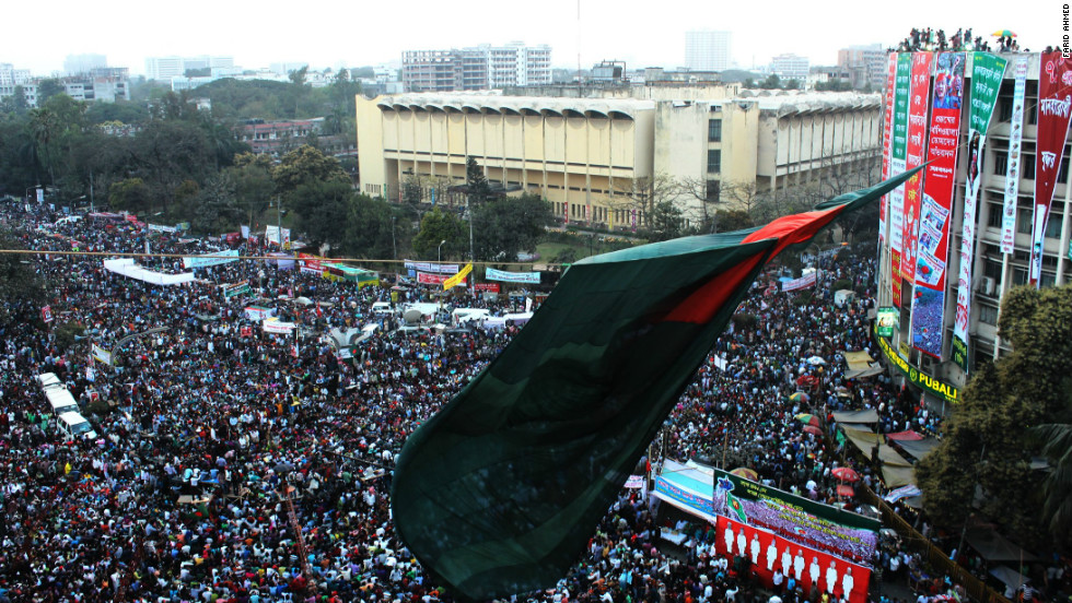 Tens of thousands of people join a sit-in at Shahbagh Square in Dhaka on February 15 to demand the death penalty for war crimes.