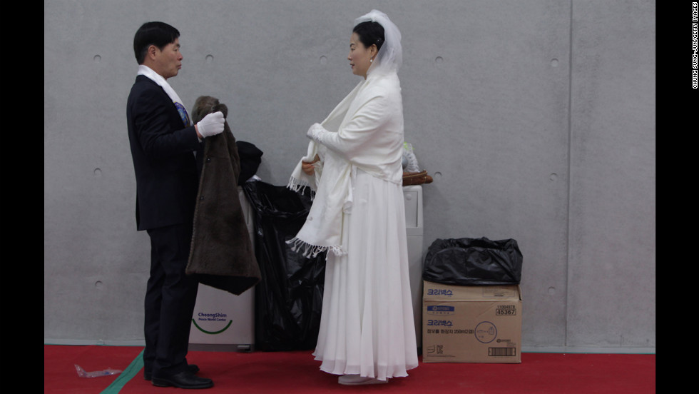 A couple wait for their wedding ceremony to begin.