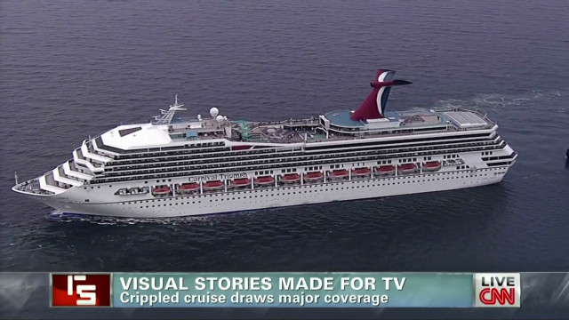 Crippled cruise draws major coverage