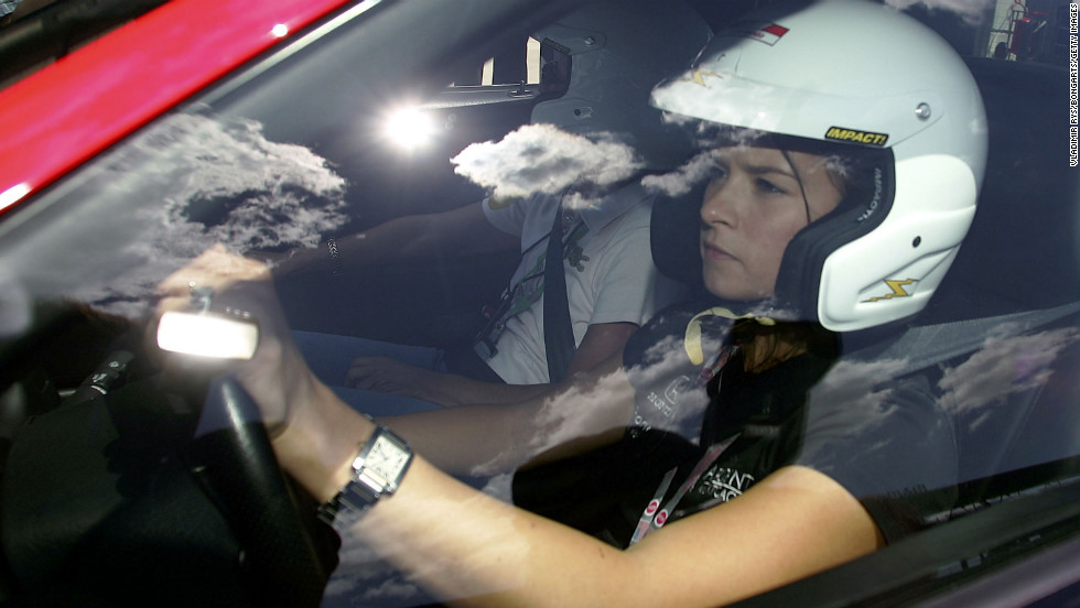 Patrick is seen driving a Ferrari during the previews to the Formula 1 United States Grand Prix in 2005 in Indianapolis.