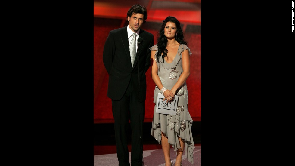 Actor Patrick Dempsey and Danica Patrick make their presentation at the 13th Annual ESPY Awards at the Kodak Theatre in 2005 in Hollywood.