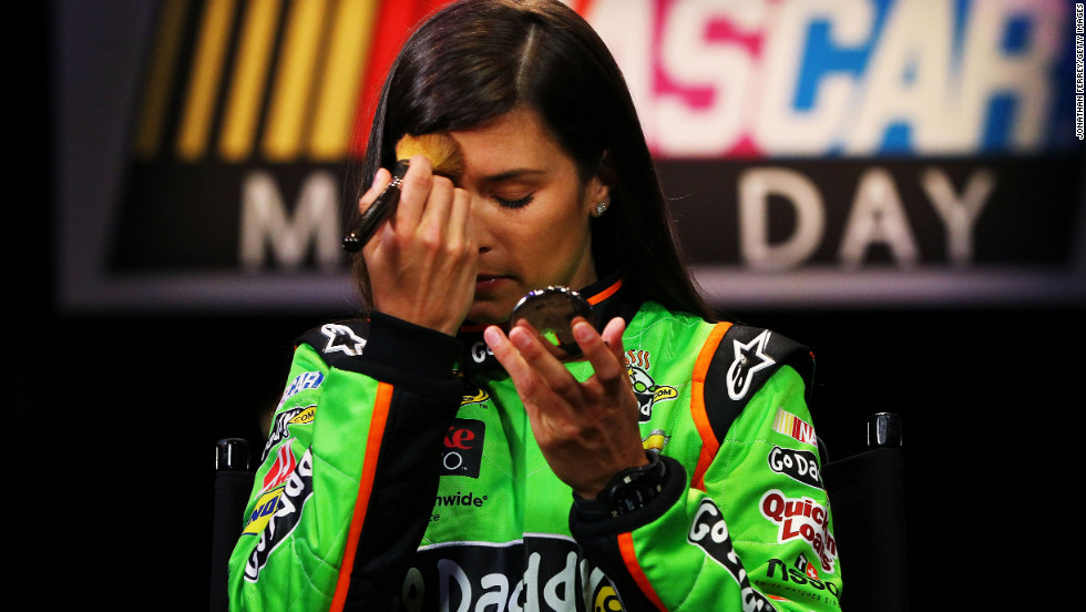 Patrick applies make-up before an interview during the 2013 NASCAR media day at Daytona International Speedway on Thursday, February 14, 2013, in Daytona Beach, Florida.