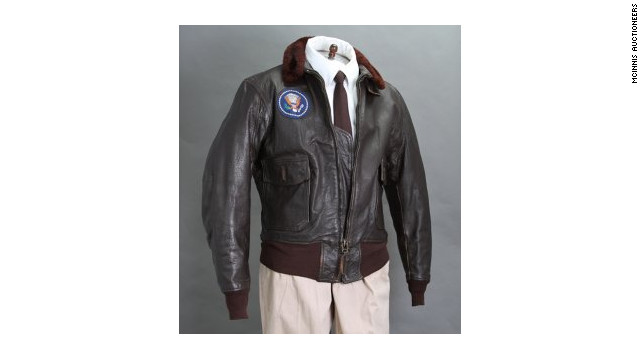 The brown leather jacket, affixed with a patch of the presidential seal, far exceeded the pre-auction estimate.